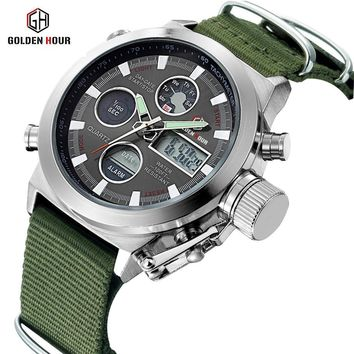 Date Display Canvas Strap Outdoor Army Military Men's Watch