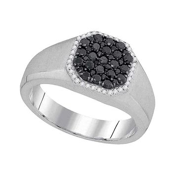 10kt White Gold Men's Round Black Color Enhanced Diamond Octagon Frame Cluster Ring 3/4 Cttw - FREE Shipping (US/CAN)