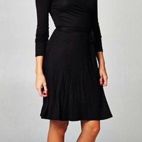 Solid Wrap Dress - Black