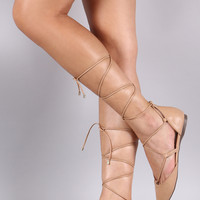 Breckelle Pointy Toe Lace Up Dorsay Flat
