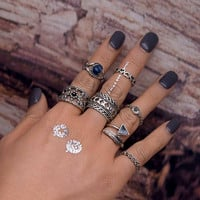 TOMTOSH 7 pcs/set Punk style Midi ring sets Retro Color Knuckle Hollow Plume Ring for women Finger ring Fashion jewelry