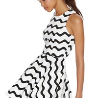 Graphic Wave Skater Dress