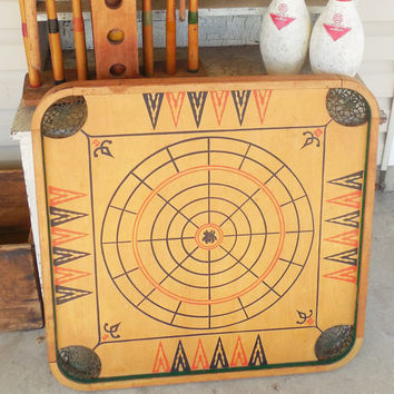 Carroms Co. Game Board Style C, Crokinole Spiders and Flies Game Board, Vintage Wood Game Board, Board Only, Other Props Not Included