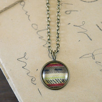 Vintage Textile Pendant Necklace - Abstract Stripes