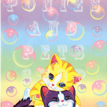 Vintage Lisa Frank Stationery Sheet Kitten Bubbles Design