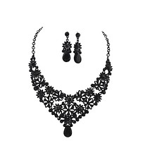 Renaissance Victorian Black Crystal Flower Statement Necklace and Earrings Set