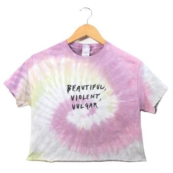 Beautiful, Violent, Vulgar Pastel Tie-Dye Graphic Unisex Cropped Tee
