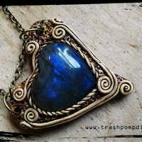 Labradorite Heart Dark Blue Black Protection Crystal Healing Pendant P-324