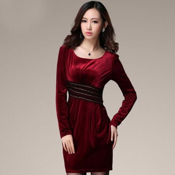 Elegant Slim Velvet dress 2016 new autumn long-sleeved Women dress Fashion Casual Sexy Middle-aged mother dress winter dresses
