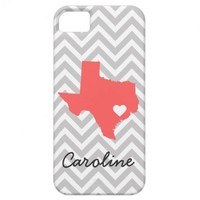 Gray & Coral Cute Texas Love Chevron Monogram from Zazzle.com