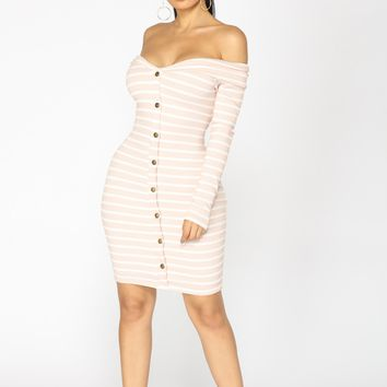 Stripe That Down Midi Dress - Mauve/White