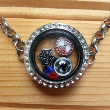 Superhero Floating Charm Locket Bracelet