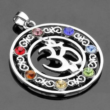 LMF78W Natural 7 Colorful Stone Beads Reiki Chakra Healing Point Tree Of Life Charm Pendant For Necklace