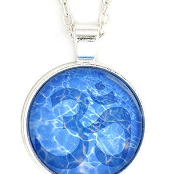 Om Water Necklace Silver Tone Aum Hindu Buddhist Yoga Art NX39 Blue Print Pendant Fashion Jewelry