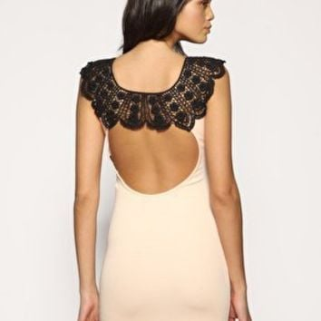 ASOS Lace Neck Open Back Body-Conscious Dress at ASOS