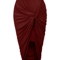 Womens Asymmetrical Banded Waist Wrap Cut Out Hi Low Maxi Skirt