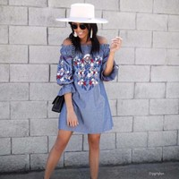 Hidden Haven Dress in Chambray