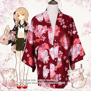 """Onegai Neko"" Praying Cat Women's Japanese Kimono Style Kawaii Blossom Bunny Trench Cute Lolita Loose Outwear 4 Colors"