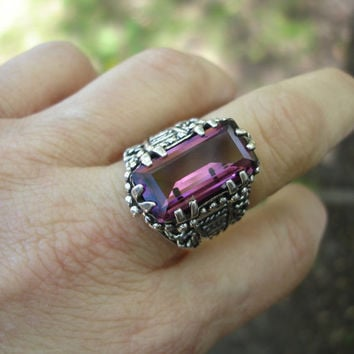 Amethyst ring, large ring, vintage ring purple ring, gemstone ring, boho, statement ring, huge ring, size 8 1/2 ring, unisex ring, gypsy