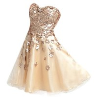 VILAVI A-line Short Tulle Appliques Cocktail Dresses Size 18W Color Champagne