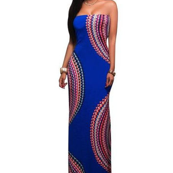 Boho Print Blue Strapless Gown