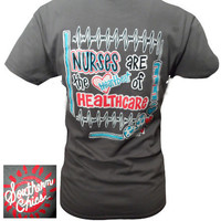 Southern Chics Funny Nurses Heartbeat Healthcare Bright T Shirt