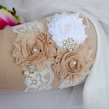 Handmade Crystal & Pearl Lace Bridal Flower Design Garter Set Throw Garter & Keepsake Garter