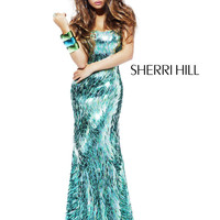 Strapless Floor-Length Sherri Hill Prom Pageant Gown 2907