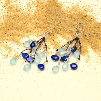 Periwinkle Teardrops and Blue Pearl Earrings