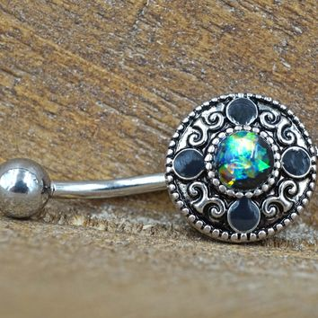 Tribal Green Opal Belly Button Ring