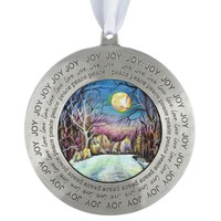 Silent Night Winter Full Moon in Sweden Pewter Ornament