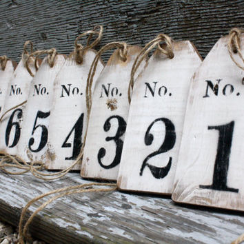 Distressed Rustic Wood Large Wedding Table Numbers Tags Sign