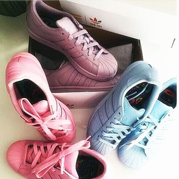 "Fashion Shell-toe ""Adidas"" Flats Sneakers Sport Shoes Pure color Full color"