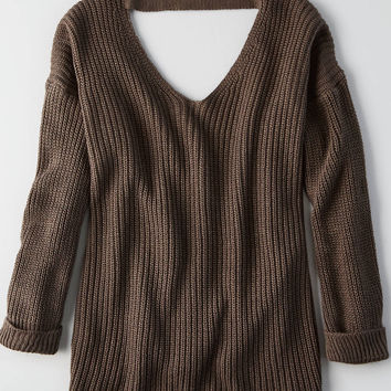 Don't Ask Why Slouchy Deep V Sweater, Brown