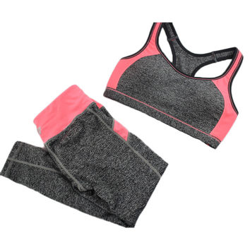 B.BANG New Women's Casual Sets Seamless Bra Fitness Top and Elastic Capris Fashion Patchwork Suits 1Set
