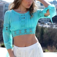 Mint Juniors Crochet Crop Top