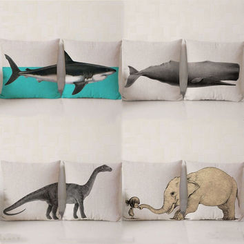 Wild Animal Pillow Case Cotton Linen Chair Seat Waist Square Shark Elephant Dinosaur Pattern Pillow Cover Home Decorative