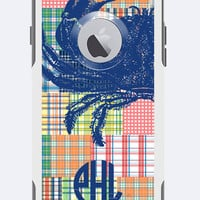 Monogrammed Otterbox Commuter Case iPhone 5c, iPhone 5/5s, iPhone 6 Galaxy 5s Madras with Crab