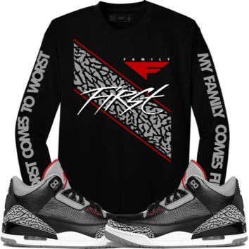 Jordan 3 Black Cement Long Sleeve Shirt - FAMILY FIRST
