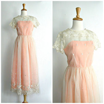 1970s Dress / 70s party dress / tea length dress / peach wedding dress / womens embroidered dress / small medium