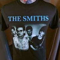 BRAND NEW THE SMITHS BLUE BAND NAME  W / MORRISSEY IN SPECS BLACK ROCK T SHIRT