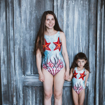 Mother daughter swimwear Matching swimsuit One piece swimsuit Girls swimsuit Bathing suits Women swim wear, Retro modest swimwear STARFISHES