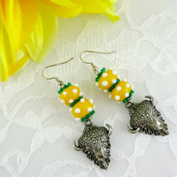 Handmade NDSU Bison earrings, North Dakota State University earrings, green & gold earrings, collegiate jewelry