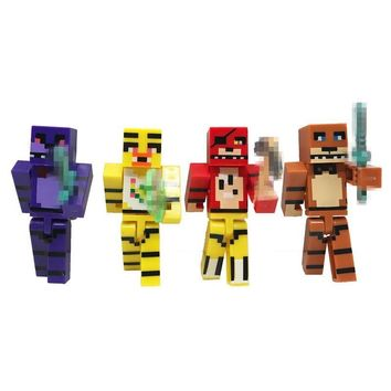 New Minecraft Action Figures Anime  At  4  Foxy Bonnie Freddy Figure Toys Kids Building Block