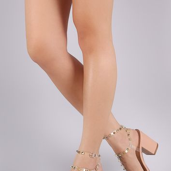 Liliana Clear Studded Cage Double Ankle Strap Chunky Heel