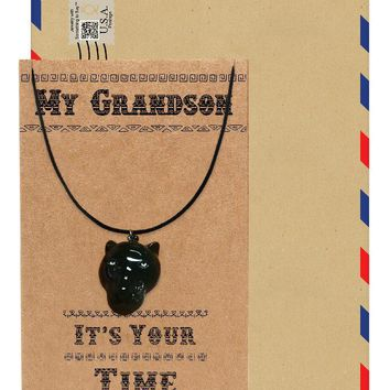 Inigo Black Panther Inspired Necklace, Gift for Him, Gift for Grandson with Greeting Card