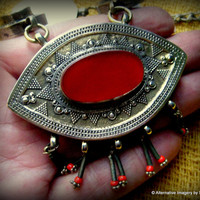 Vintage Early 20th Century Museum Quality Kazakh Gilded High Grade Silver and Carnelian Evil Eye Ornate Tribal Necklace