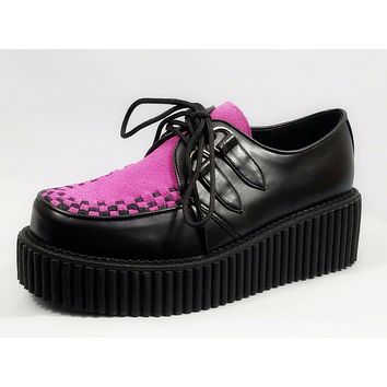 "Creeper Fuchsia Suede Black Leather 2"" Platform Oxford Shoe Size 7,8 or 12"