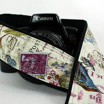 Camera Strap dSLR or SLR, Butterfly, Antique Vintage, Purple Martin, Birdwatcher, Canon or Nikon Strap, Camera Neck Strap, 155 w