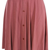Bryony Button Front 90's Grunge Skater Skirt